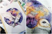 """Схема для вышивания крестиком """"Космическая сова"""". Отшив."""