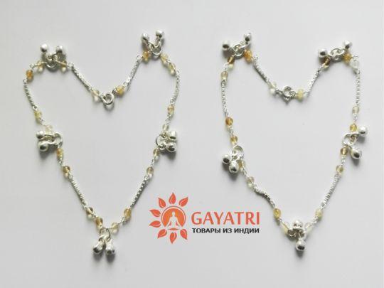 Серебряные браслеты-колокольчики с натуральными камнем- топаз