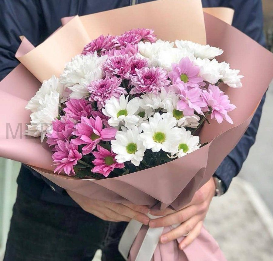 Букет из 7 белых и розовых кустовых хризантем
