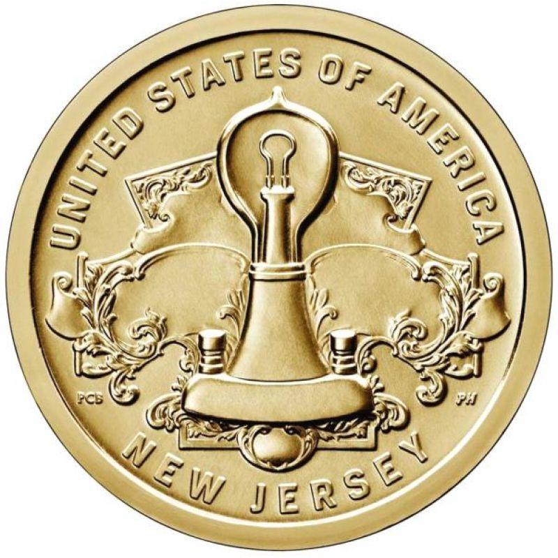 "1 доллар 2019г. Американские инновации ""Лампа накаливания Томаса Эдисона (New Jersey)"" №4"