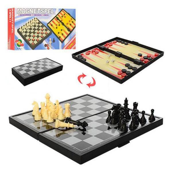Настольная игра 3 в 1 Шахматы, Шашки, Нарды. Магнитные