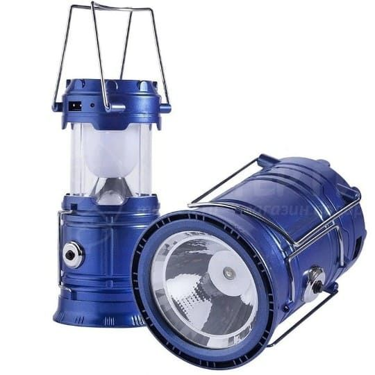 Складной кемпинговый фонарь 3 в 1, 14 см, синий
