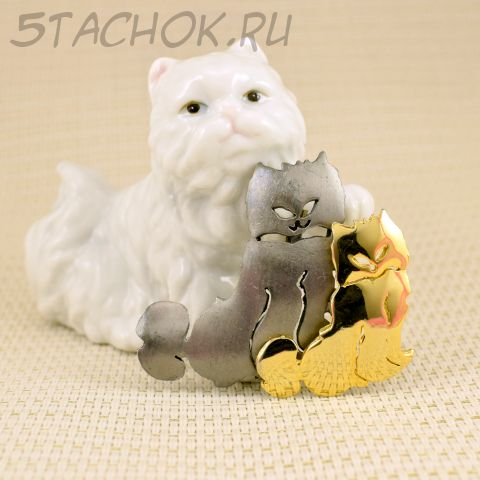 """Брошь """"Пара персидских котов"""" (Ultra Craft США)"""