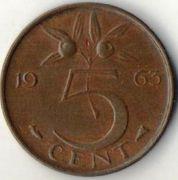 5 центов. 1963 год. Нидерланды.