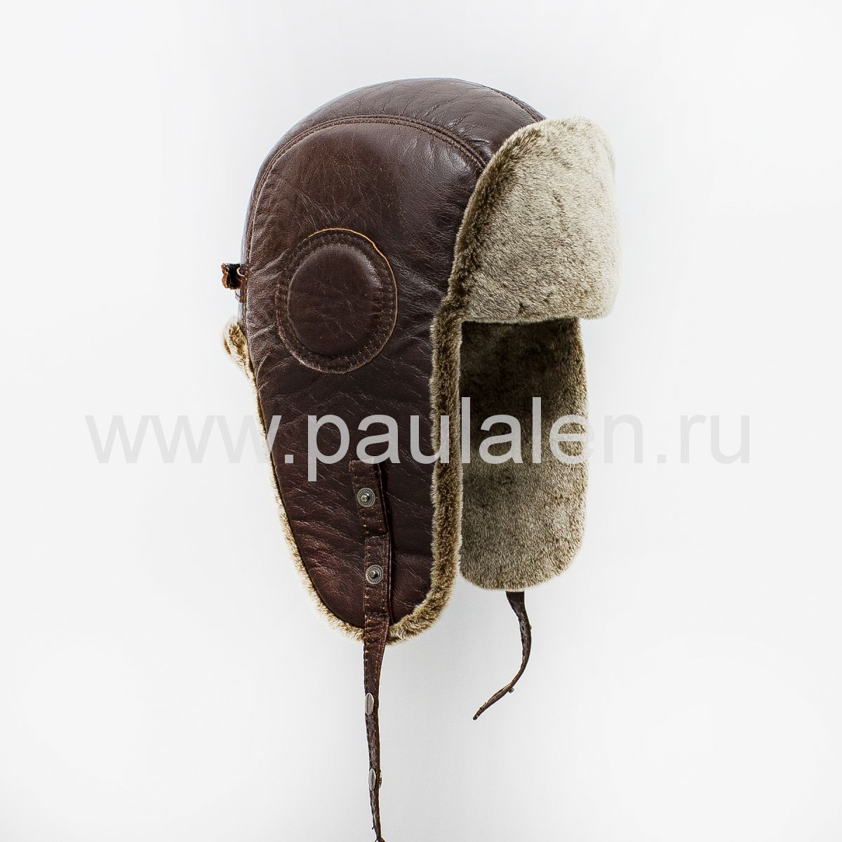 Мужской шлем Авиатор из кожи и овчины. Артикул B006