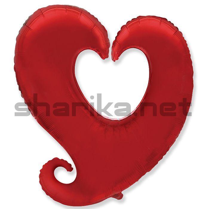 Фольгированный шар (18''/46 см) Сердце витое, Красный, 1 шт.