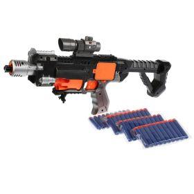 Автомат с мягкими пулями на батарейках с лазерным прицелом и с фонарем