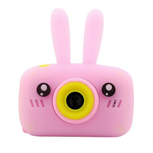 Детский цифровой фотоаппарат с селфи камерой. Зайчик. Цвет: Розовый