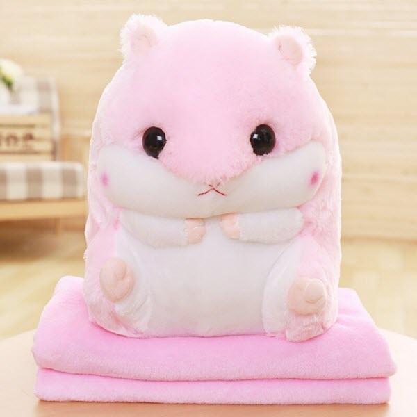 Плед подушка хомяк 3 в 1 (Цвет: Розовый)