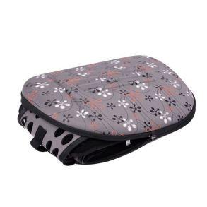 Складная сумка-переноска в цветочек для животных до 6 кг (серый)