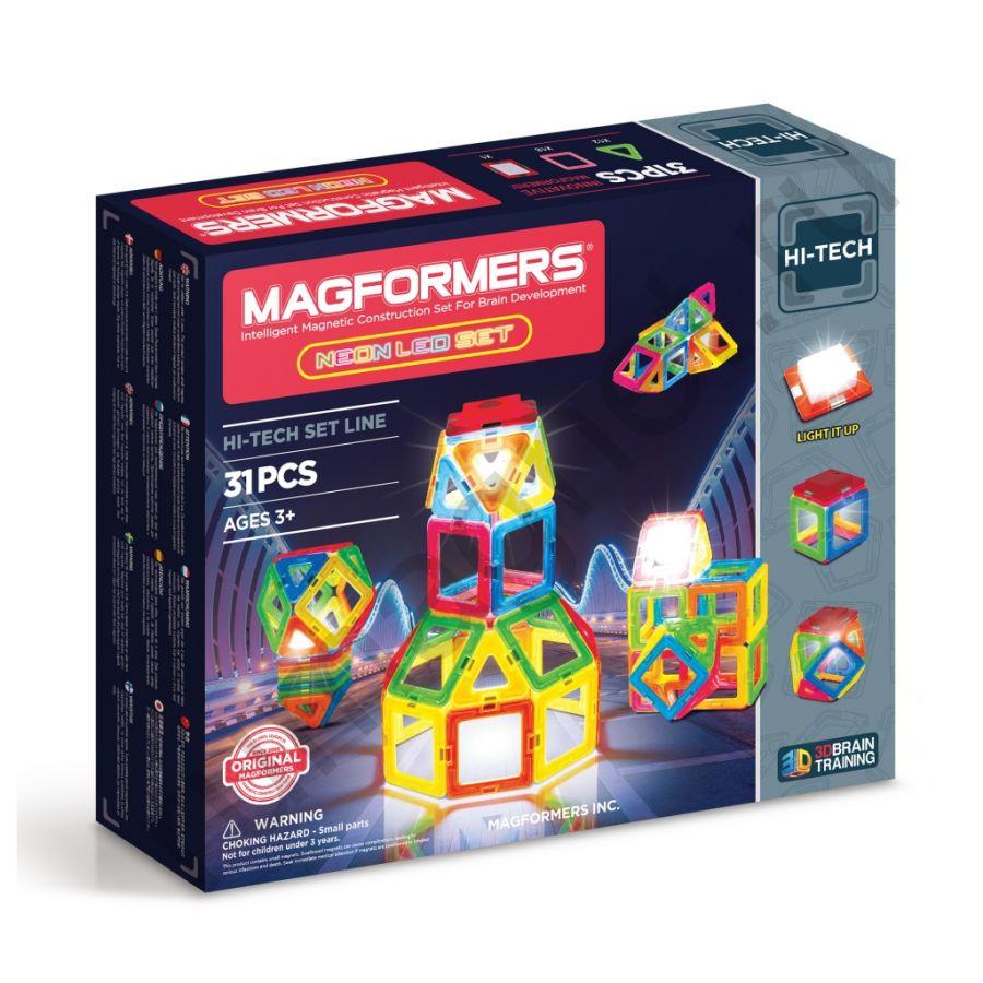 Магнитный конструктор MAGFORMERS 709007 Neon Led set