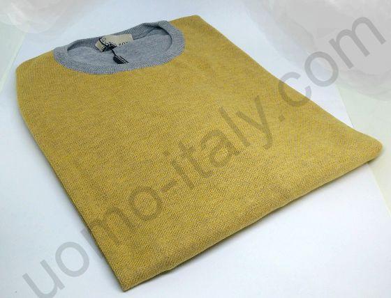 Джемпер серо-желтый Giorgio Porta с круглым вырезом