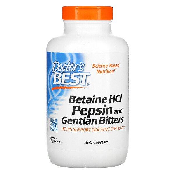 Бетаин гидрохлорид с пепсином и горечавкой, 360 капсул