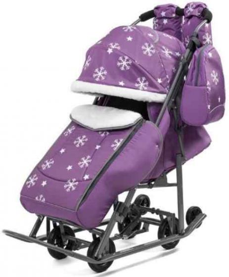 Санки коляска Pikate Снежинки Фиолетовые