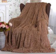 "Плед-одеяло с  длинным ворсом ""шоколад""  220х240 см №PL002"