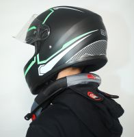 Шлем интеграл Safebet 112 matt black, green фото 5