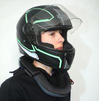 Шлем интеграл Safebet 112 matt black, green фото 6