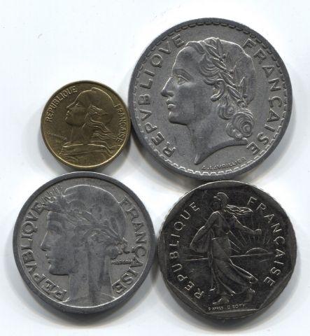 Набор монет Франция 1947-1982 4 шт. НАБ ФР-001
