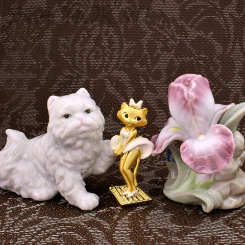 """Брошь """"Кошечка Мерилин"""" цвет золота/эмаль (Danecraft США)"""