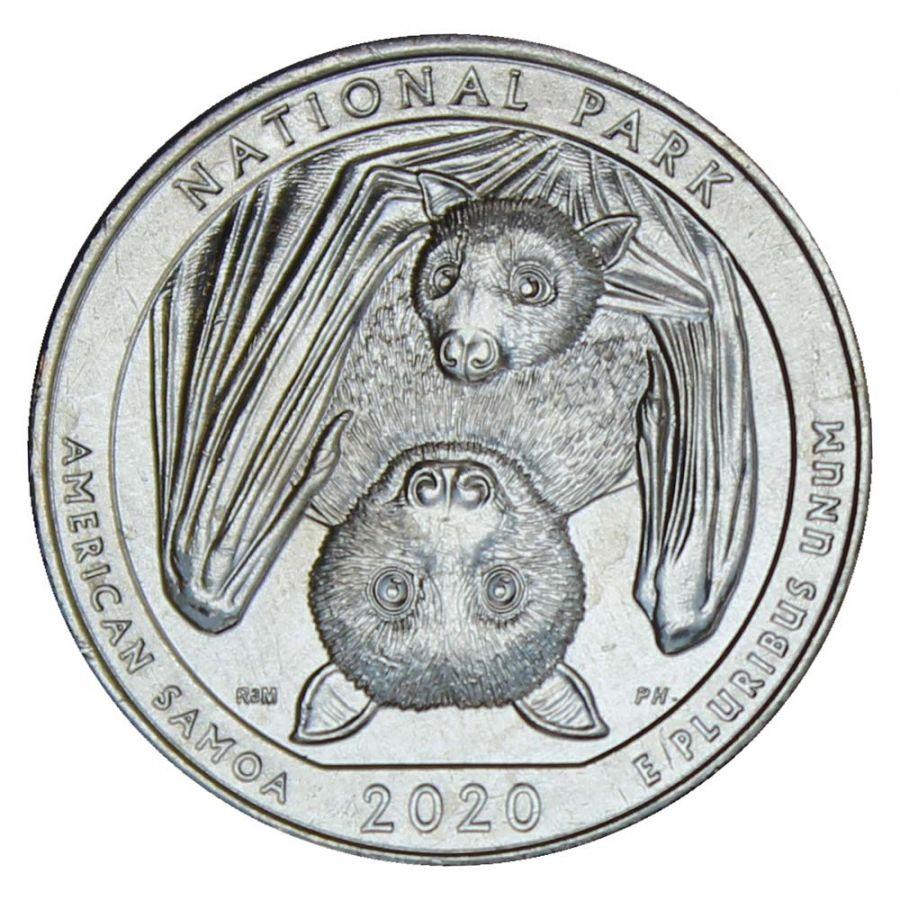 25 центов 2020 США Национальный парк Американского Самоа D