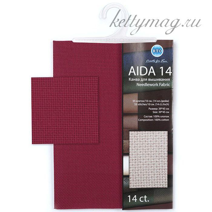 "Канва РТО ""Aida 14"" арт.A14 39х45 см цв.906 бордовый"