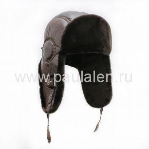 Шлем Авиатор мужской, из натуральной кожи и овчины B018