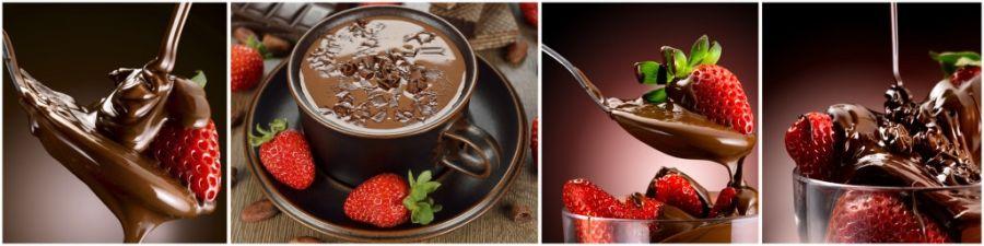 Кухонный фартук AG 16 -Клубника в шоколаде фрукты еда