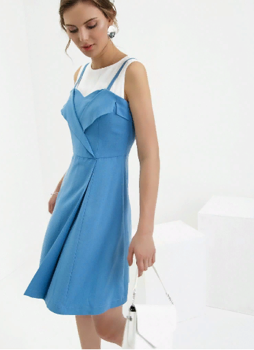 Комбинированное платье из вискозы