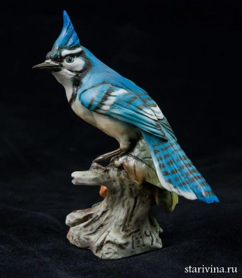 Фарфоровая статуэтка Голубая сойка. Tay, Италия.