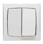 Переключатель двухклавишный  накладной  белый в сборе с рамкой (арт.86020)