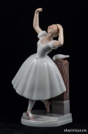 Балерина с голубем, Bing & Grondahl, Дания, до 1948 года., артикул 10106