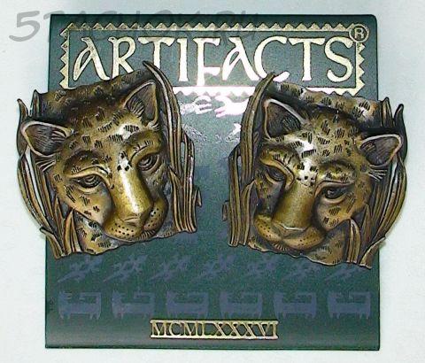 """Серьги """"Леопард"""" под античное золото"""