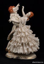 Вальсирующая пара в белом, кружевница, Дрезден, Германия, 1950-60 гг., артикул 00418