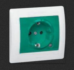 Розетка Legrand Mosaic 2К+З зеленая 2М (арт.77216)