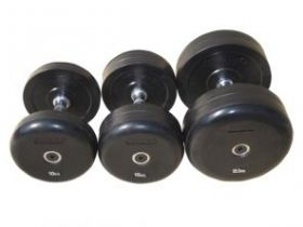 Комплект гантелей фиксированных обрезиненных «JOHNS» , цвет чёрный  2,5кг, 5кг, 7,5кг, 10кг