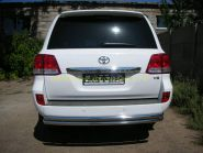 Защита заднего бампера уголки двойные 60х60 мм (LC06-13) для Toyota Land Cruiser 200 2008