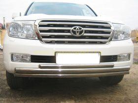 Защита переднего бампера 63х63х42 мм (LCZ-000208) для Toyota Land Cruiser 200 2008