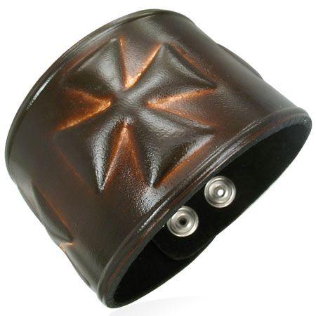 Кожаный браслет Мальтийский Крест