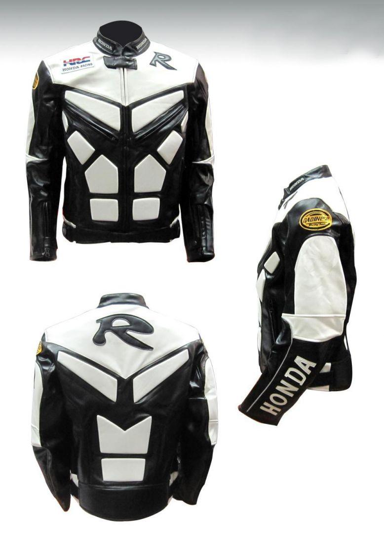 Мотокуртка PU Honda Racing со встроенной защитой (черный-белый)