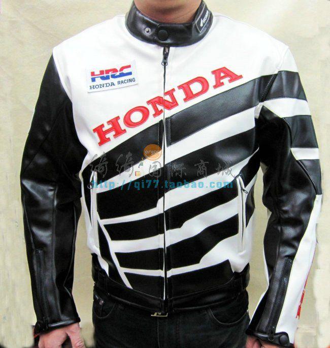 Мотокуртка PU Honda RC со встроенной защитой (белый-черный)