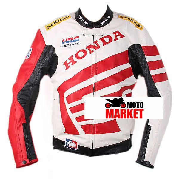 Мотокуртка PU Honda RC со встроенной защитой (красный-белый)