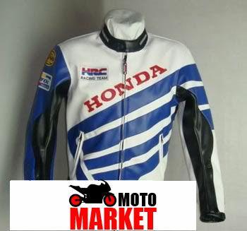 Мотокуртка PU Honda RC со встроенной защитой (синий-белый)