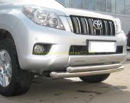 Защита переднего бампера 76х63 мм двойная (PNZ-000470) для Toyota Land Cruiser Prado 150 2010