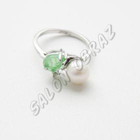 Кольцо жемчуг, нефрит КО-002