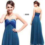 Голубое вечернее платье без бретелей с кристаллами