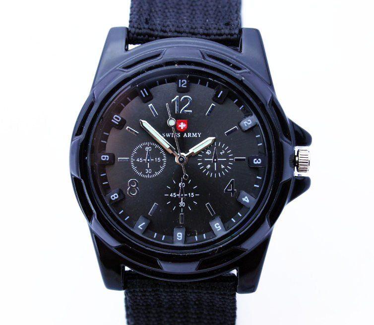 Армейские черные часы Swiss Army