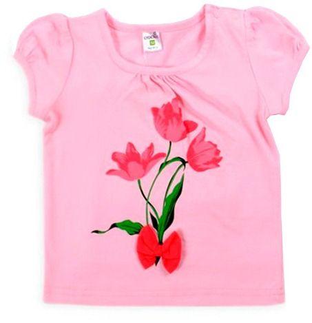 Блуза розовая Тюльпаны