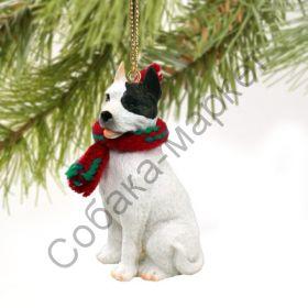 Американский пит бультерьер новогоднее украшение «Теплый шарф»