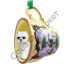 Вест хайленд вайт терьер новогоднее украшение-чашка «Заснеженный дворик»