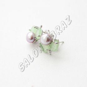 Пусеты жемчуг, нефрит ПУ-002-5